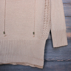 lace-up knit sweater in tan - shophearts - 4