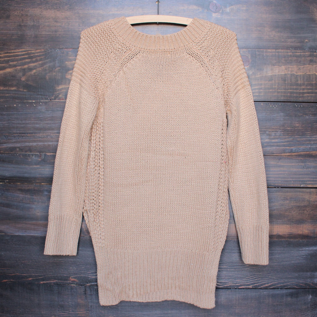 lace-up knit sweater in tan - shophearts - 2