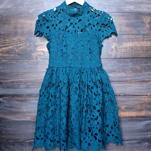 final sale - floral lace applique dress with cap sleeves in teal - shophearts - 2