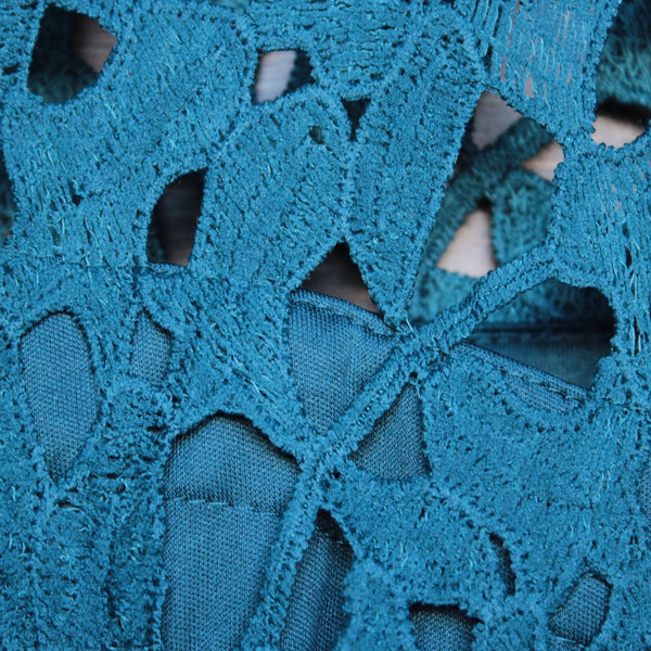 final sale - floral lace applique dress with cap sleeves in teal - shophearts - 3