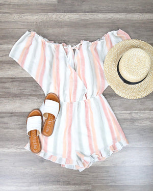 Final Sale - West Coast Ice Cream Parlor Striped Peek-A-Boo Romper in Peach