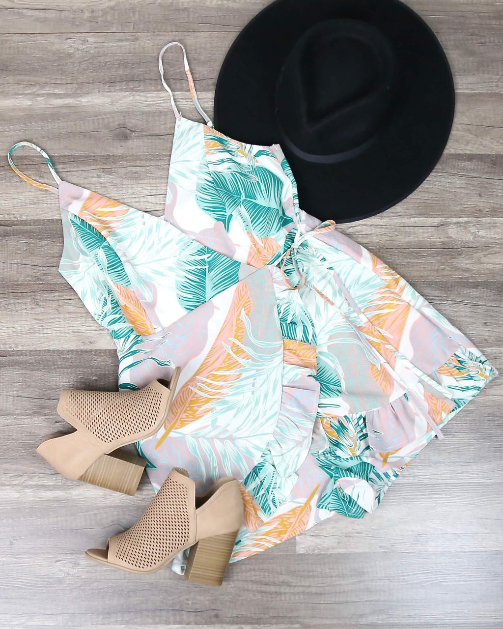 Tropical Breeze Printed Wrap Romper in White Multi