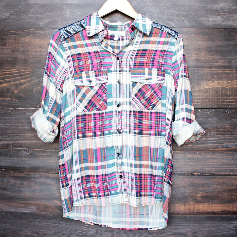 button up plaid shirt with dazzling blue sequins - shophearts - 2