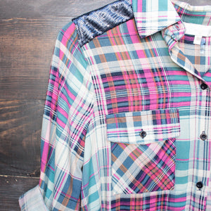 button up plaid shirt with dazzling blue sequins - shophearts - 3