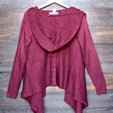 open front knit cardigan with hood in burgundy - shophearts - 1