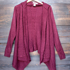 open front knit cardigan with hood in burgundy - shophearts - 2