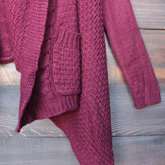 open front knit cardigan with hood in burgundy - shophearts - 3