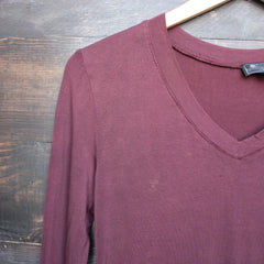 BSIC - vintage acid wash v neck long sleeve shirt in burgundy - shophearts - 2