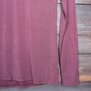 BSIC - vintage acid wash v neck long sleeve shirt in burgundy - shophearts - 3