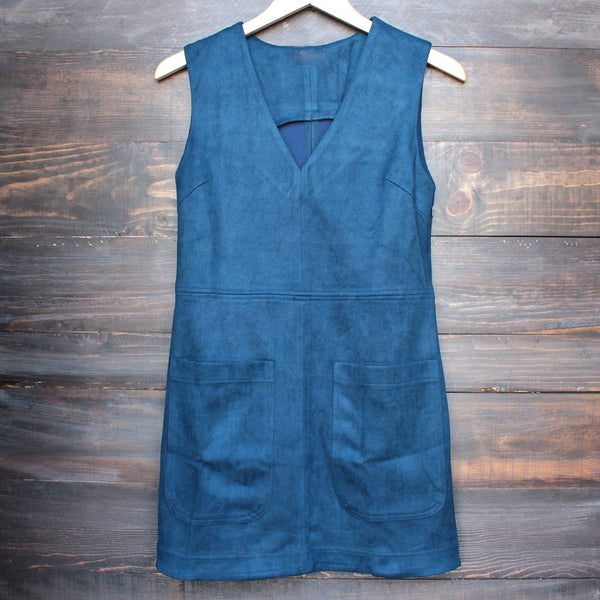 I suede it sleeveless dress in navy - shophearts - 1