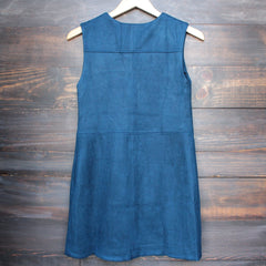 I suede it sleeveless dress in navy - shophearts - 2