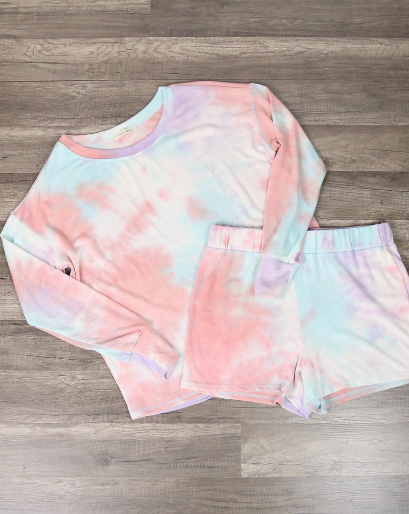 Tie Dye Print Sleep Lounge Wear Set - Coral & Mint