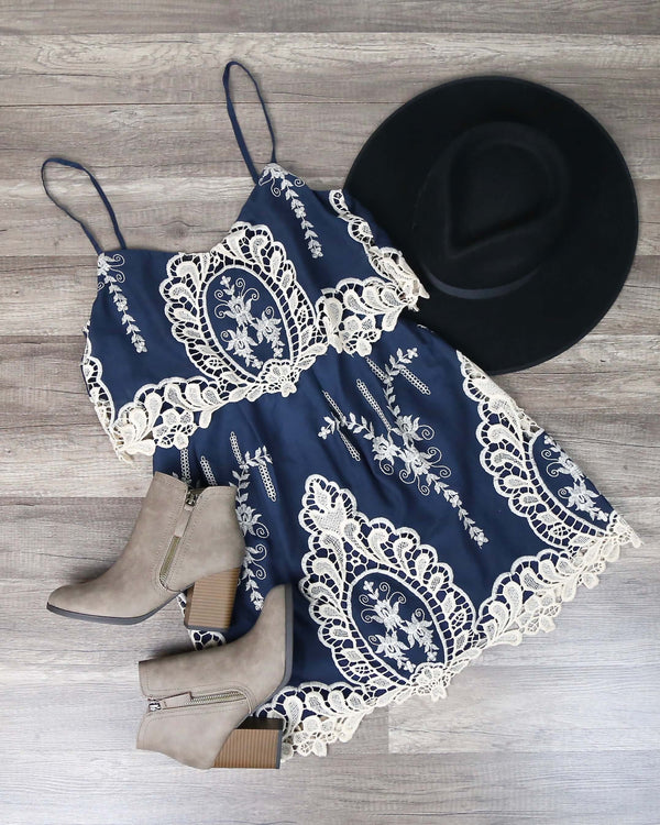A Hint of Vintage Victorial Lace Dress in Navy and Cream