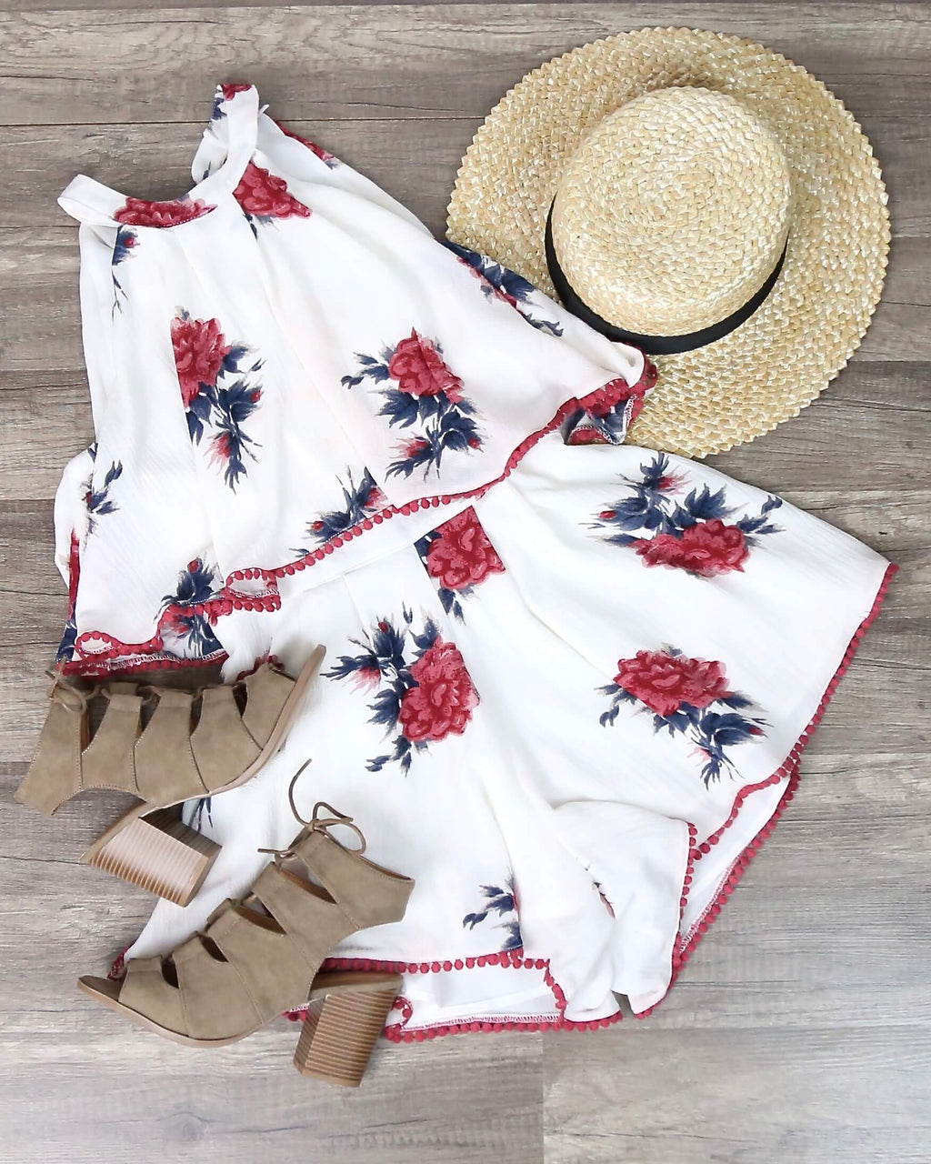 Dance All Night Floral Halter Romper