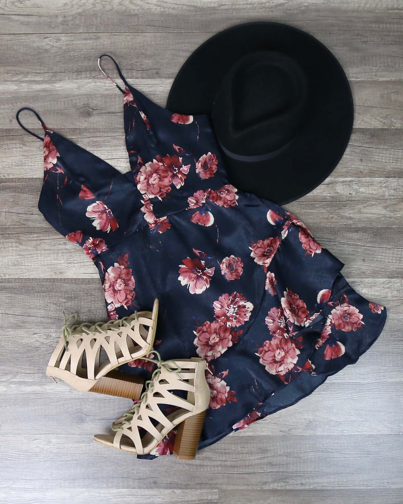 Cotton Candy LA - Floral Mini Dress with Asymmetrical Ruffle Hem in Navy