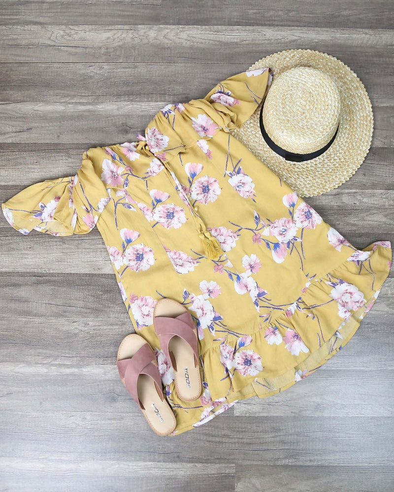 Cotton Candy LA - Love or Lust Off The Shoulder Floral Dress in Honey