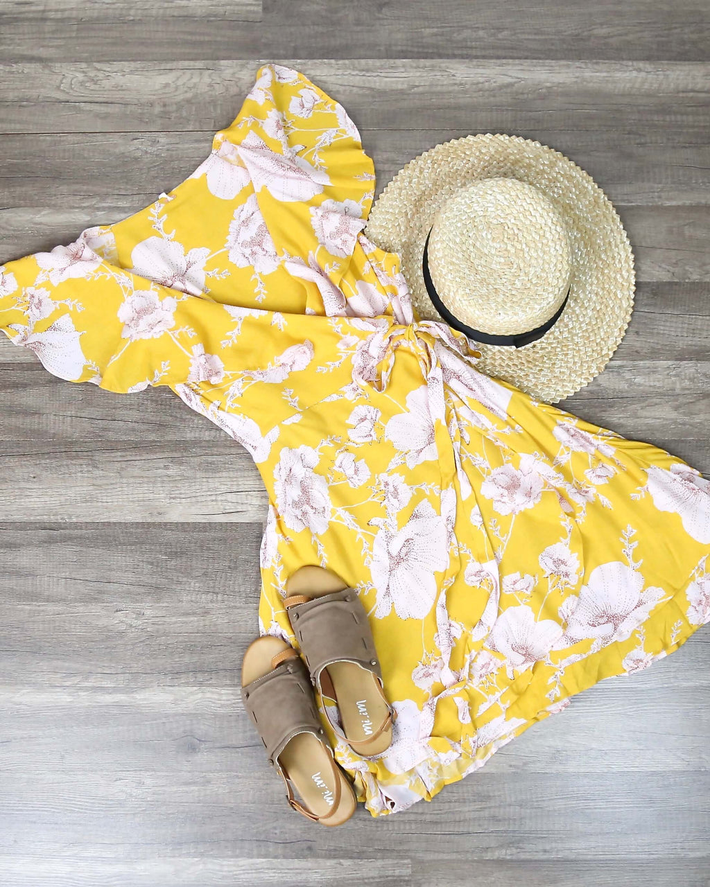 Free People - French Quarter Floral Mini Wrap Dress in Yellow