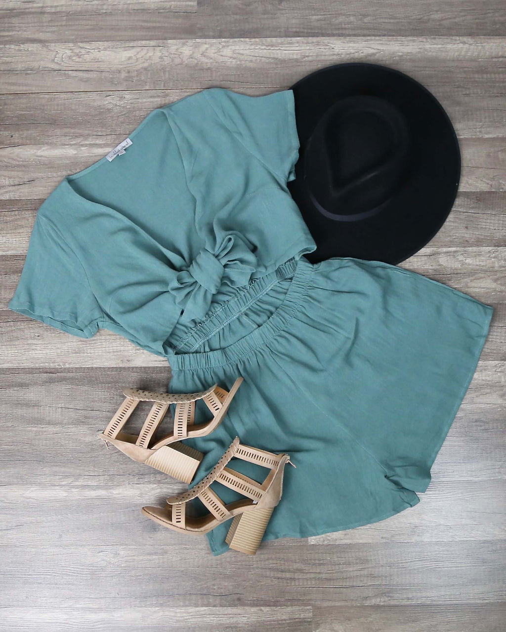 Charlotte V-neck Tie Front Romper in Forest Green