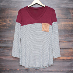 color block stripe long sleeve shirt with suede elbow patch + pocket (more colors) - shophearts - 5