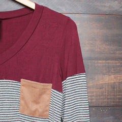 color block stripe long sleeve shirt with suede elbow patch + pocket (more colors) - shophearts - 6