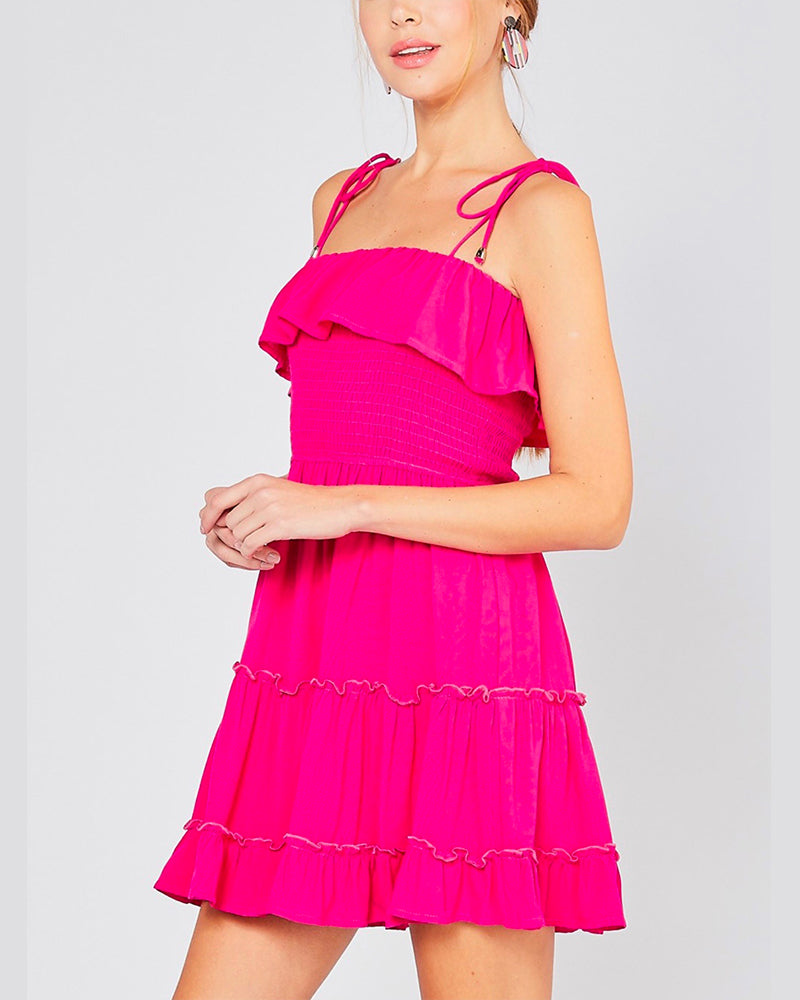 I Like You Smocked Tiered Dress in Fuchsia