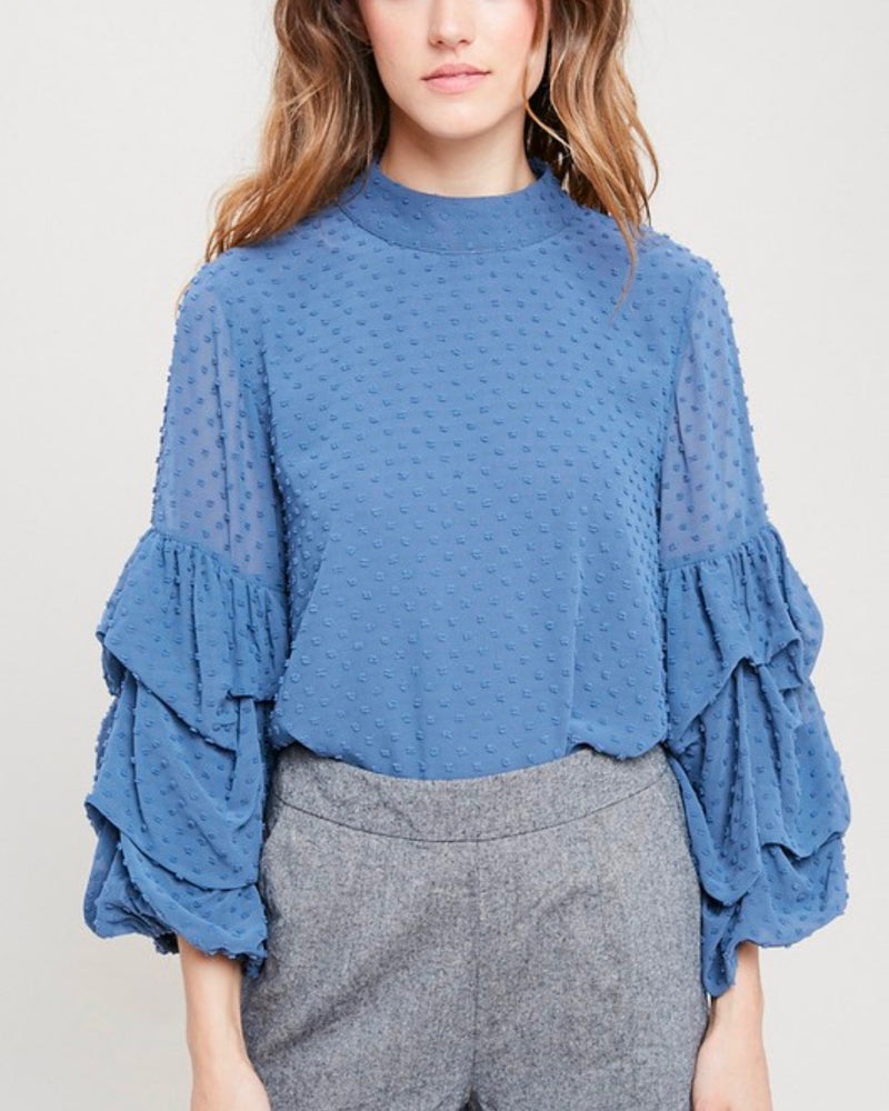 I Got News Bubble Sleeves Woven Women's Top in Velvet Blue