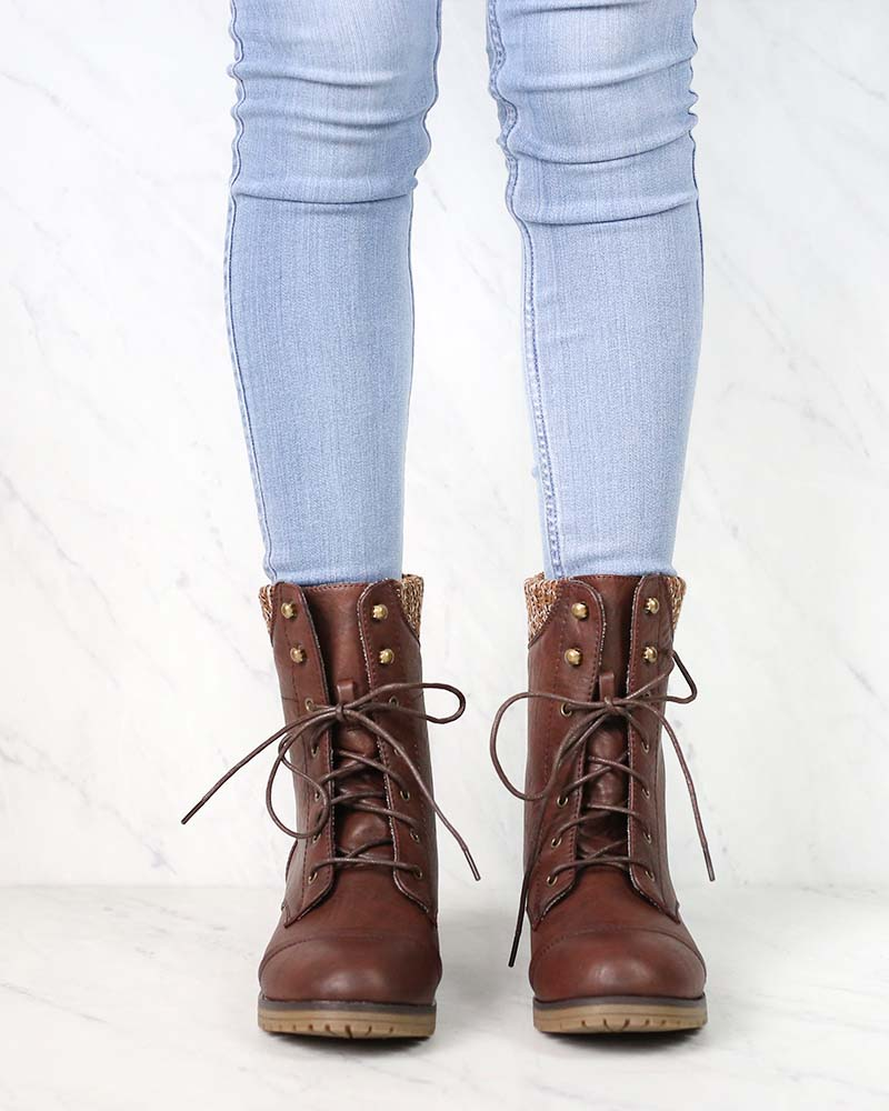In the Woods Ankle Sweater Cuff Boots in Brown