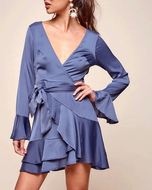 Into You satin flared sleeves peek-a-boo back mini wrap dress in muted blue
