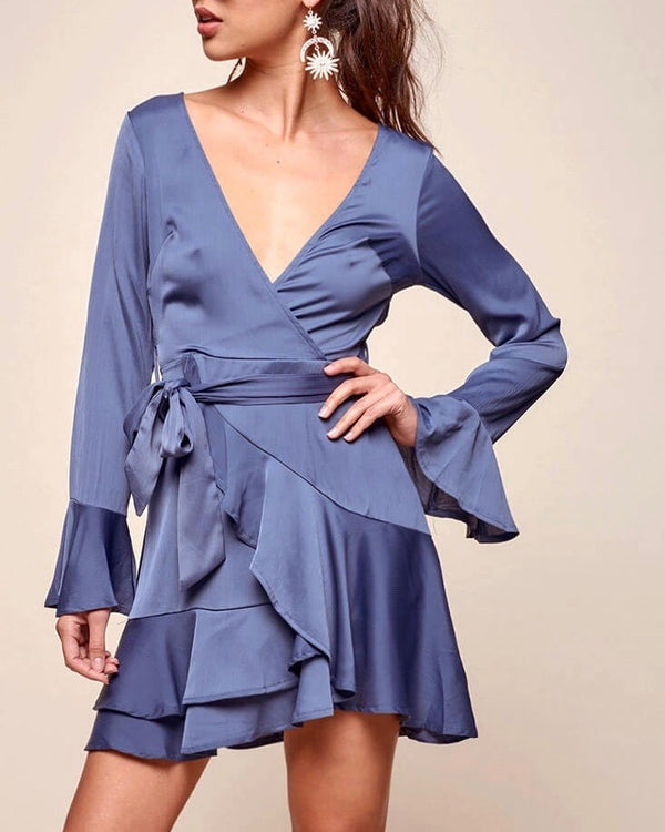 Into You Satin Flared Sleeves Peek A Boo Back Mini Wrap Dress in Muted Blue