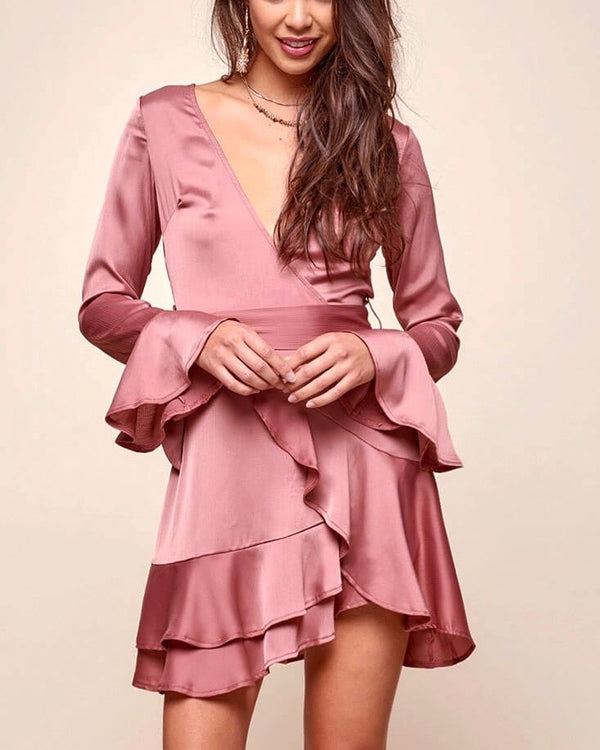 Into You Satin Flared Sleeves Peek A Boo Back Mini Wrap Dress in Muted Rose