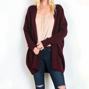 southern comfort open knit cardigan - burgundy