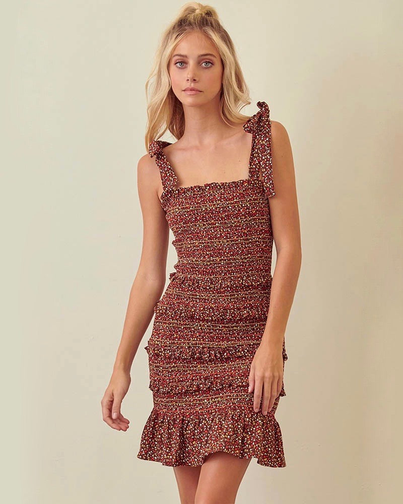 Floral Print Smocked Ruffle Dress with Tie Straps in Brown