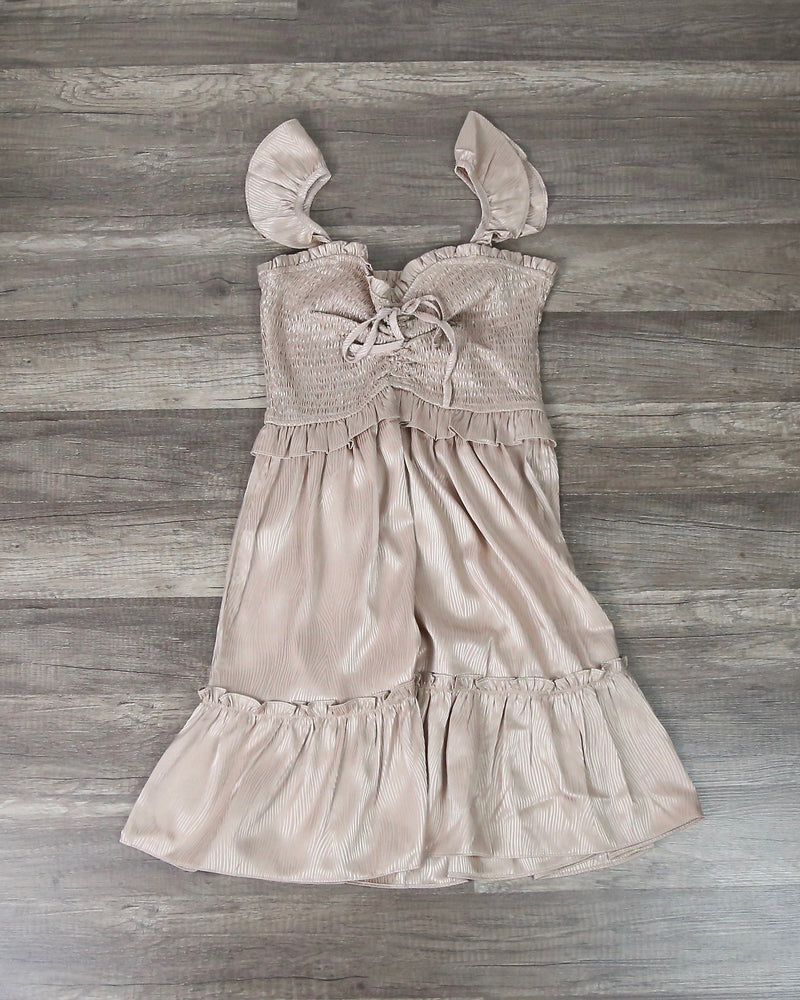 Satin Heart Neckline Smocked Bodice Mini Dress in Champagne