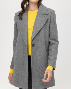 JQ Fleece Single Breasted Coat in Grey