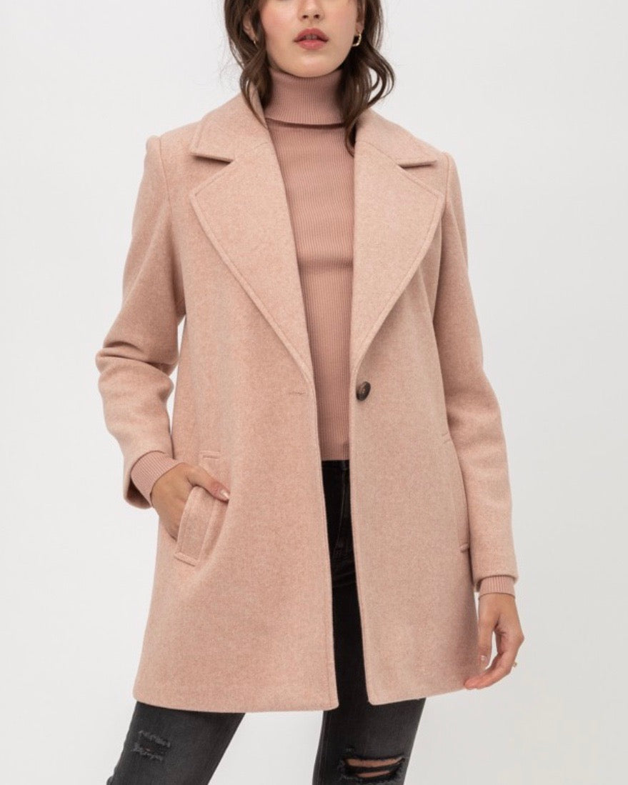 JQ Fleece Single Breasted Coat in Mauve