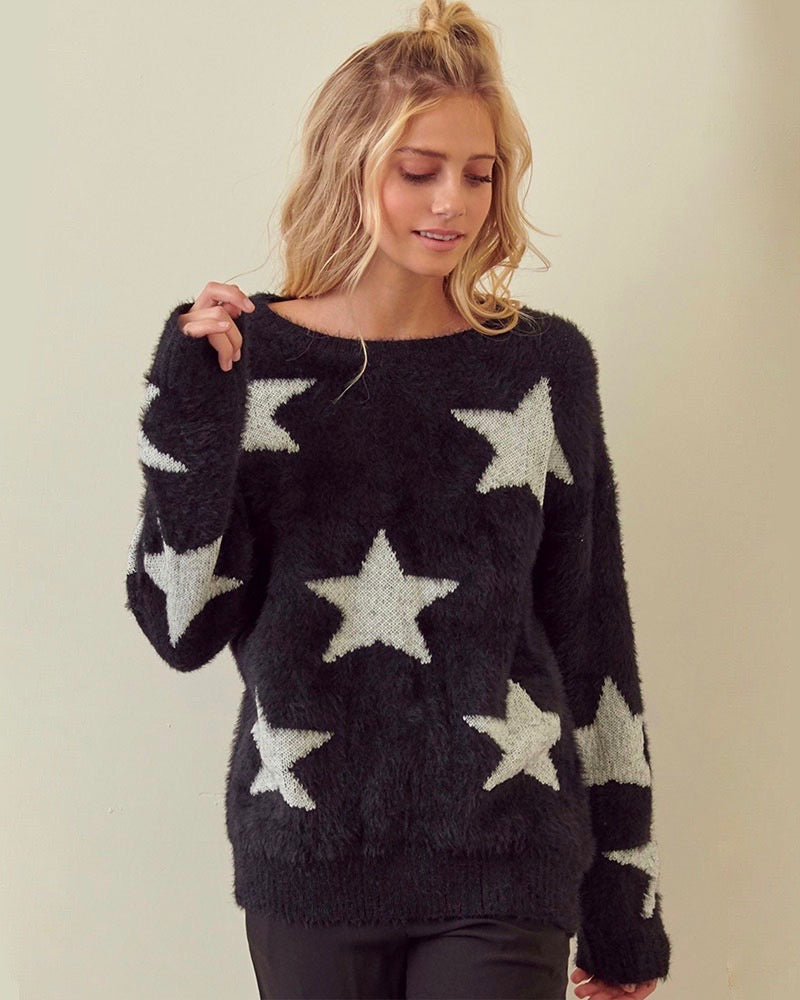 Starry Night Star Patterned Fuzzy Sweater in Black