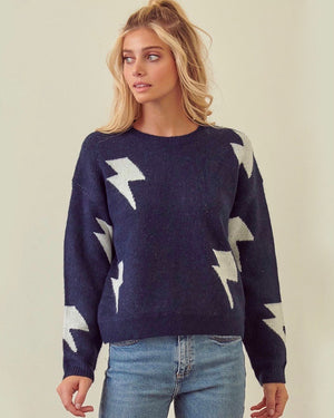Zap! Zap! Lightning Bolt Patterned Knit Sweater with Drop Shoulders in Navy