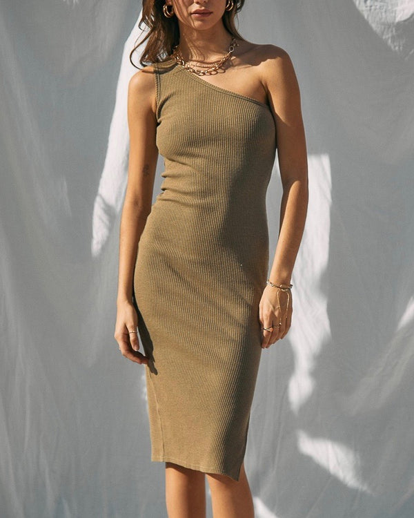 Ribbed One Shoulder Slit Detail Midi Dress in Dusty Olive