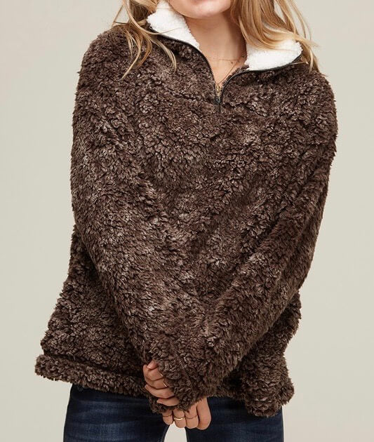 two tone sherpa half-zip pullover - brown