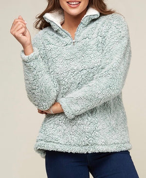 two tone sherpa half-zip pullover - sage