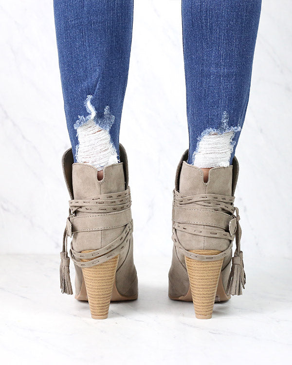 Kara Tassel Heeled Booties in Taupe