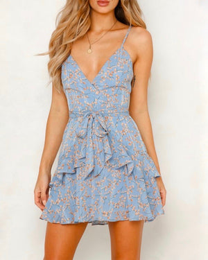 Keep it a Secret - Tiered Ruffle Dress - Blue