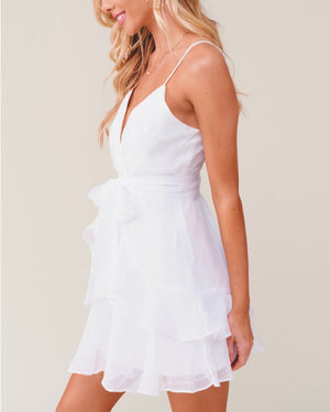 Keep it a Secret - Tiered Ruffle Dress - White