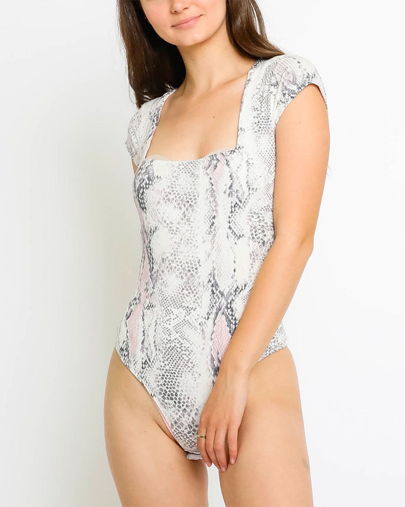 Knit Blush Snake Print Bodysuit