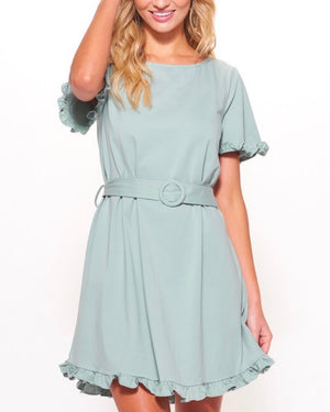 Knit Belted Shift Mini Dress with Ruffled Trim in Sage