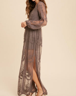 As You Wish Balloon Long Sleeve Embroidered Maxi Dress in More Colors