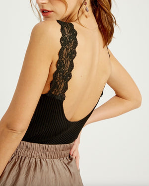 Ribbed Lace Trim Bodysuit in More Colors