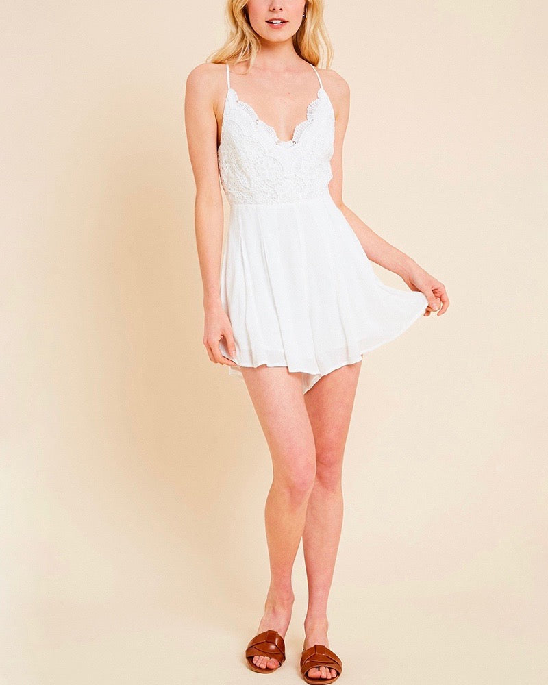 Lace Bodice Pleated Romper - More Colors