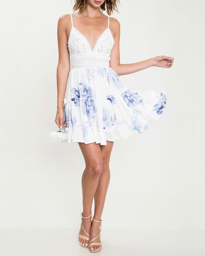 meet me in the middle - floral ruffle hem dress - ivory/blue