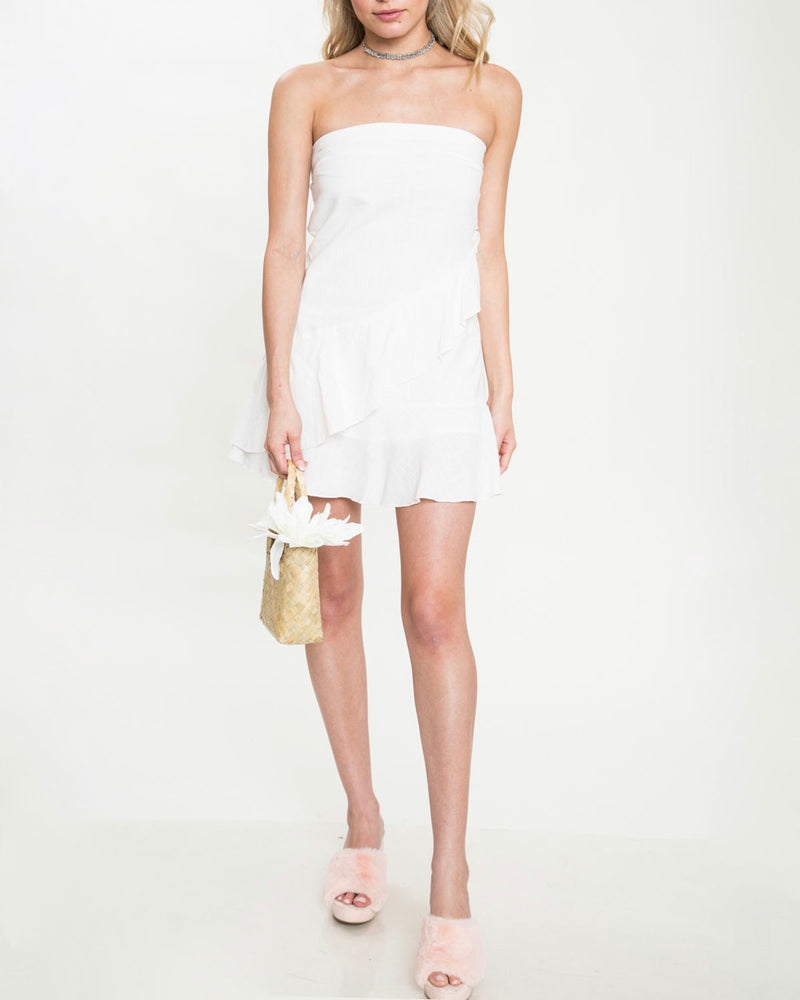 Strapless Ruffle Hem Dress - White